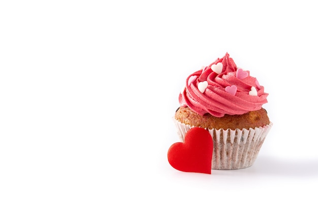 Cupcake decorated with sugar hearts isolated