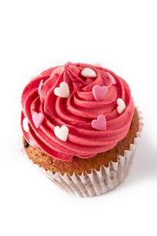 Cupcake decorated with sugar hearts for valentine's day isolated