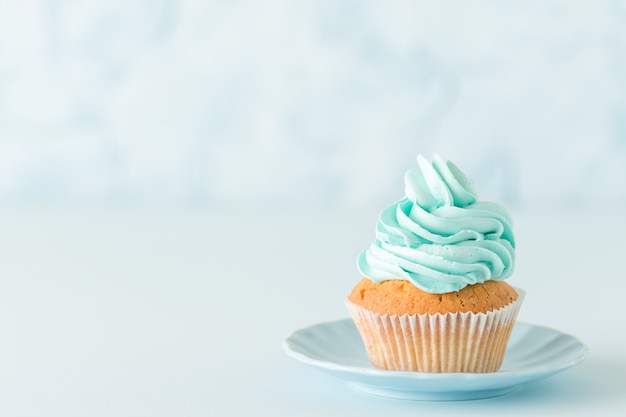 Cupcake with blue cream decoration on plate - blue pastel horizontal banner
