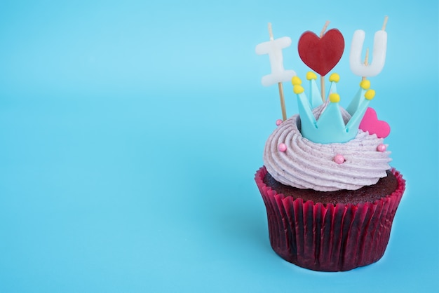 Cupcake with i love you candle