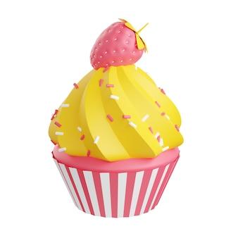 Кекс с кремом водоворот украшен брызгами и клубникой 3d визуализации иллюстрации. розовый торт с глазурью и ягодами - сладкий десерт для праздника или концепции пекарни, изолированные на белом фоне.