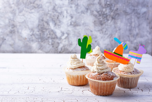 Cupcakes for celebrating mexican party fiesta