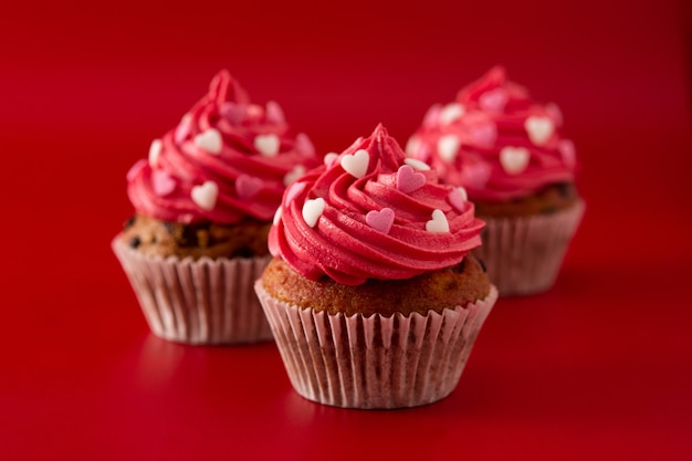 Cupcakes decorated with sugar hearts