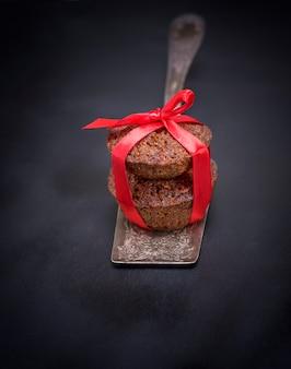 Cupcakes on an iron kitchen spatula