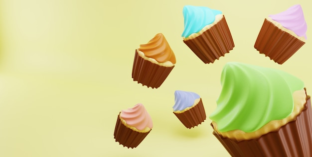 Cupcakes random color frosting cream fall in yellow surface background