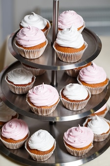 Cupcakes on a stand.