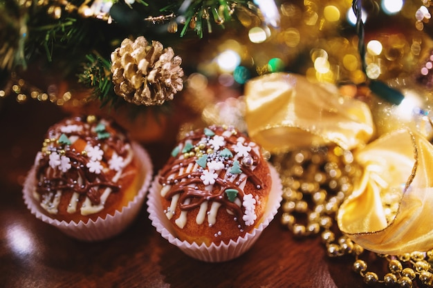 Cupcakes with christmas decoration