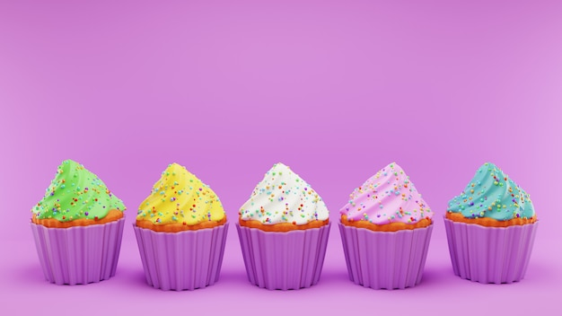 Cupcakes with different color whipped cream frosting in pink