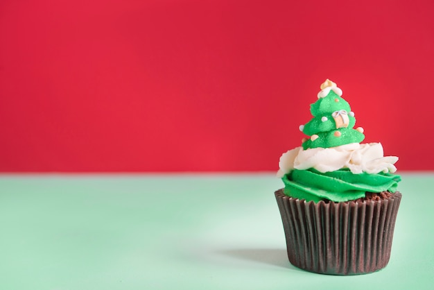 Cupcakes with ice cream for christmas time