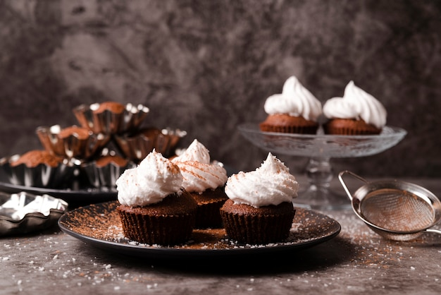 Cupcakes with icing and cocoa powder