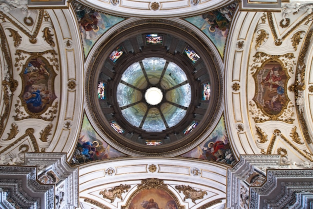 Cupola and ceiling of church la chiesa del gesu or casa professa in palermo