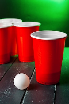 Cups  game beer pong on the table