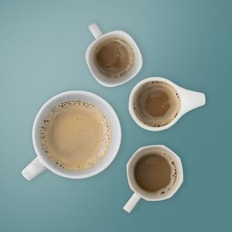 Чашки кофе вид сверху.