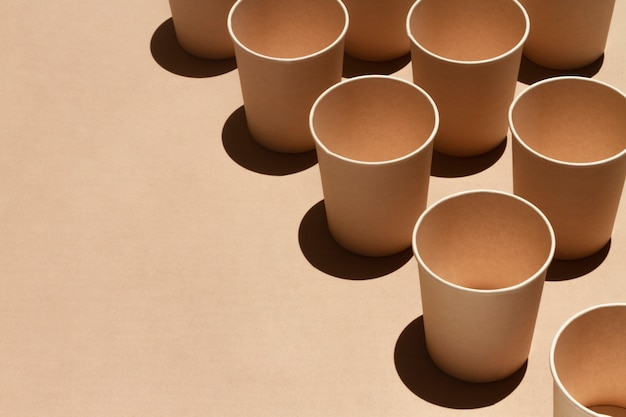 Cups with copy space high angle