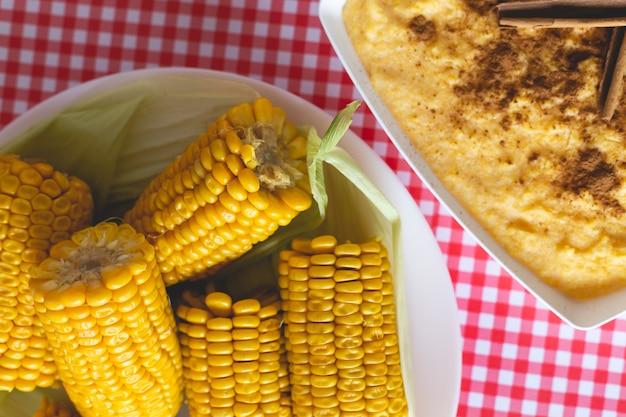 Curau, canjica, angú, sweet corn cream and dessert typical of brazilian cuisine.