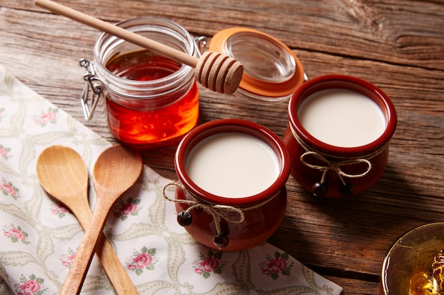 Curd dairy dessert with honey