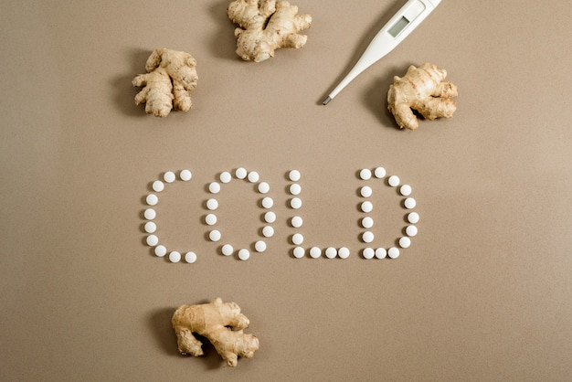 Cure a cold in winter, pills or natural remedy like ginger.
