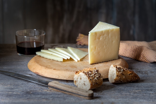 Cured cheese on table