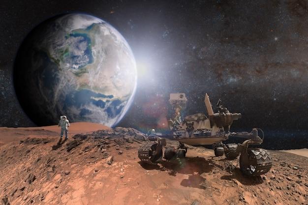 赤い惑星の表面を探検する好奇心の火星探査車
