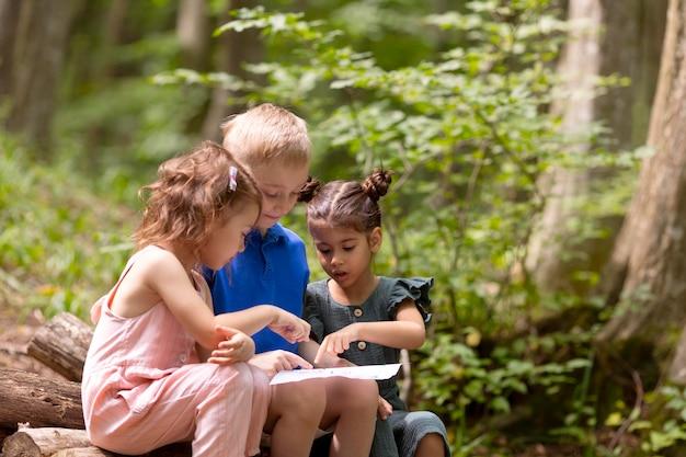 宝探しに参加している好奇心旺盛な子供たち 無料写真