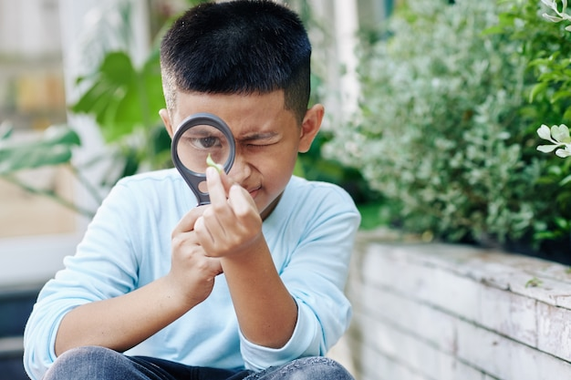 Curious vietnamese kid looking at green leaf through magnifying glass when exploring nature