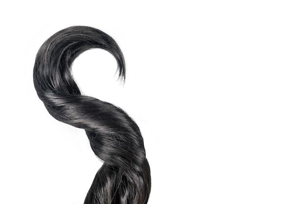 곱슬 검은 머리는 흰색 배경에 고립. 아름다운 건강한 긴 검은 머리 자물쇠, 이발, 헤어 스타일. 염색 머리 또는 착색, 머리 확장, 치료, 치료 개념, 텍스트 복사 공간.