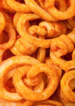 Curly fries fast food snack. macro