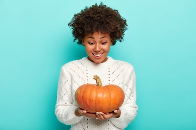 Curly haired young afro woman with happy expression looks at homegrown autumn pumpkin, wears white sweater