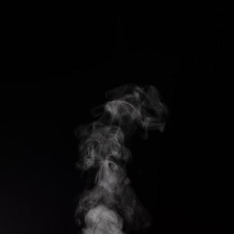 黒の背景に分離されたさまざまな方向に散乱して上昇する巻き毛の白い蒸気。