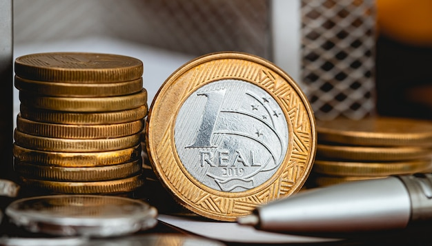 The currency of brazil in macro photography