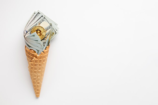 Currency ice cream with copy-space