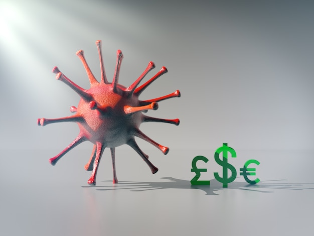 The currency icon stay under shadow of big virus,  economic impact of corona virus concept.