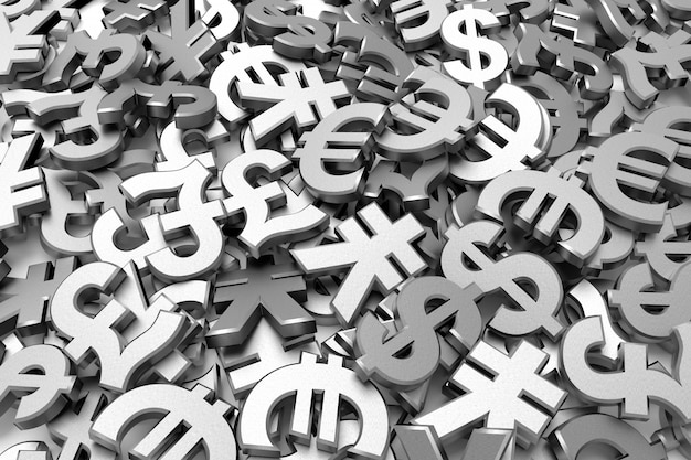 Currency symbols. 3d rendering.