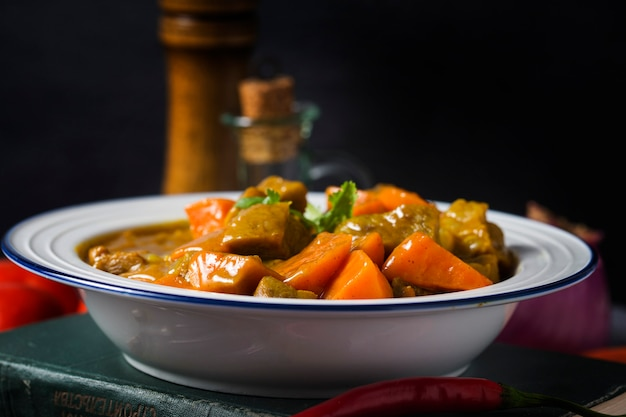 Curry and carrot beef sirloin