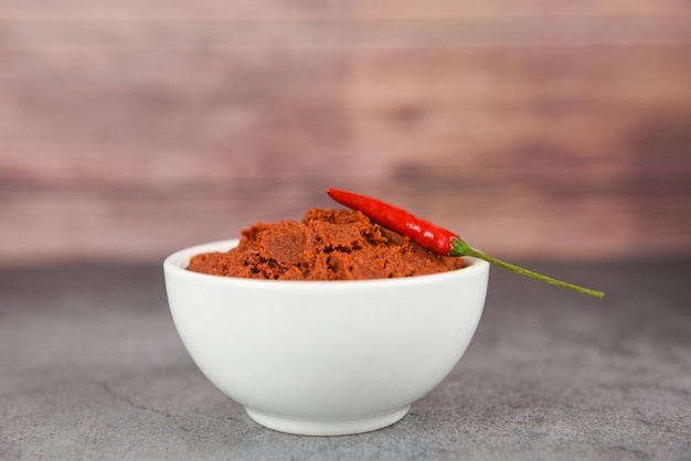 Curry paste and red chilli peppers