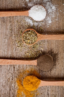 Curry, pepper, oregano and cooking salt in wooden spoons