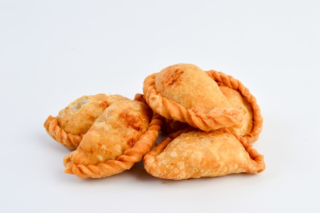 Curry puff pastry isolated on white background