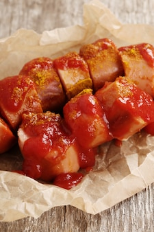 Curry wurst with sauce
