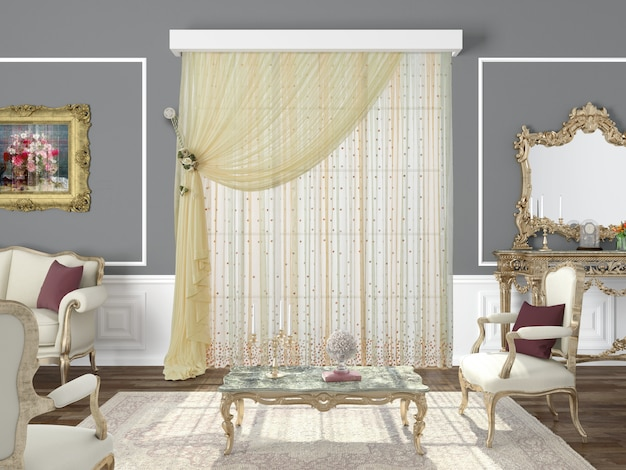 Curtain window with decorative