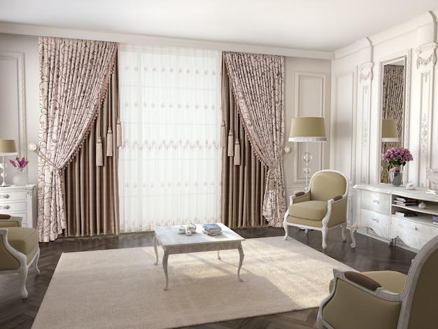 Занавес окна с декоративной Premium Фотографии