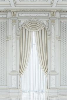 Curtains in a carved niche made of wood