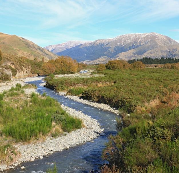 Curve river to alpine alps mountain at arthur's pass national pass