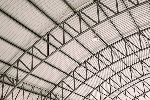 Curve roof steel design structure with galvanized corrugated roofing tile steel sheet.