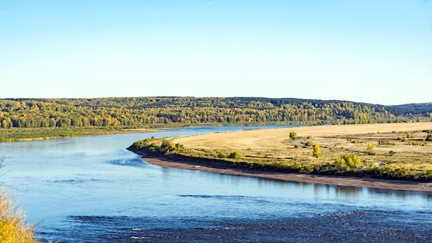 Curve of tom river in autumn from lagerniy sad. tomsk. russia.