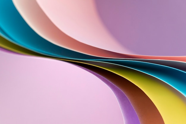 Curved abstract layers of colored papers
