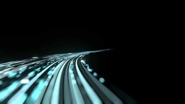 ぼやけたぼかし効果を持つ湾曲した青い光の道の道。