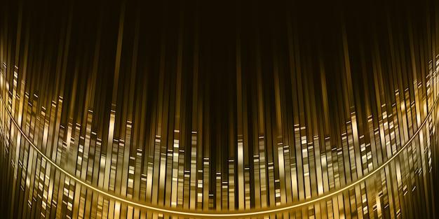 곡선 황금 음파 이퀄라이저 황금 빛 줄무늬 음악 주파수 스펙트럼 3d 그림
