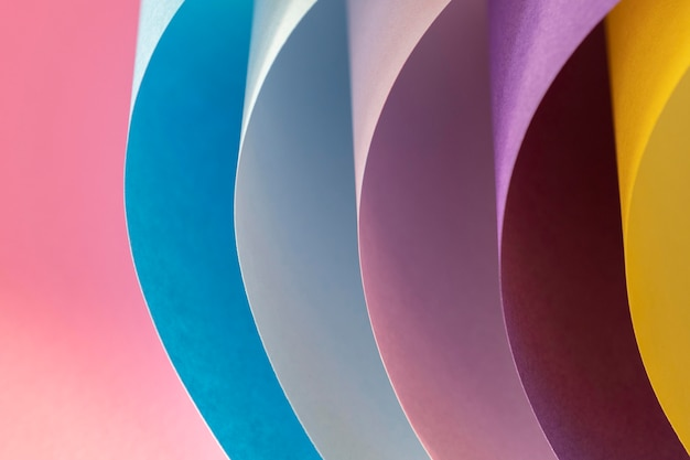 Curved layers of colored papers