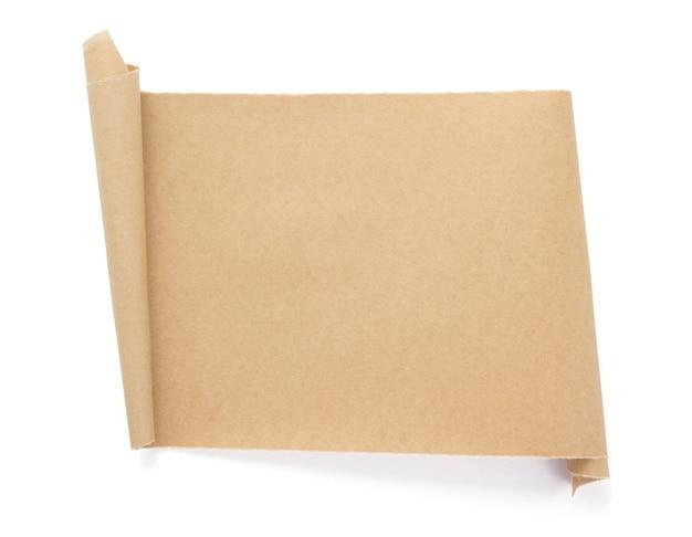 흰색 배경에서 격리된 곡선 또는 스크롤된 종이