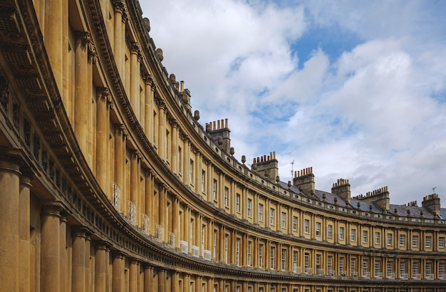 Curved terrace of georgian town houses in the circus, bath, england